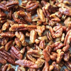 Honey Roasted Pecans - easy recipe with just those two ingredients! Snack ready in under 30 minutes including cooling time.