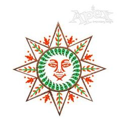 "Sun Harvest Embroidery Design. Size: 2.56"" x 2.57"""