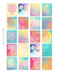 Decorate your Erin Condren Life Planner, Happy Planner, or Bible Journal with these beautiful Love Is Scripture stickers from 1 Corinthians 13.  This downloadable - printable - digital kit includes 20 full box stickers featuring watercolor boho art and poetic Scripture.  Stickers are formatted for the Erin Condren vertical planner, but can be used in any planner. You will receive one page as shown in both JPEG and PDF file types. Your downloaded product will not contain a watermark. For best…