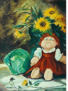 "still life: ""Cabbage & Cabbage Patch Doll"" o/c 20x16  by Katherine Cook"