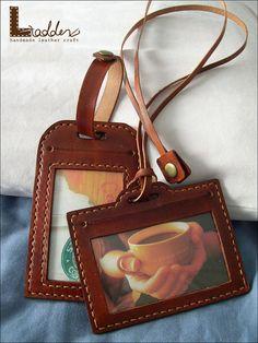 Leather ID card / badge holder /travel tagluggage by ladderleather