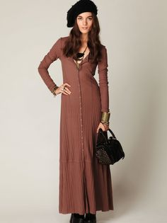 Moon Duster Maxi | Casual and cool cable knit button-front maxi dress. Long sleeves. Can be worn as either a dress or a maxi cardigan.    *60% Cotton, 40% Polyester   *Machine Wash Cold   *Import    Measurements for Size Small:   Length: 55