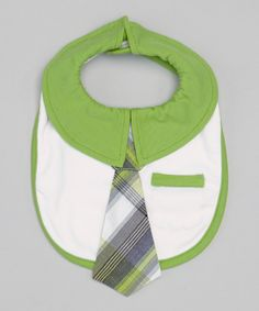 Take a look at this Grasshopper Plaid Tie Collared Bib on zulily today!