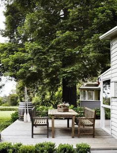 A nice wooden table and some benches speak volumes for this gorgeous Pinterest photo, while at the same time being as simple (and functional) as can be.