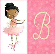 "Ballerina illustration print for girl's room - Initial B - 11""x17"" - Can be personalized with any letter on Etsy, 110,03 zł"