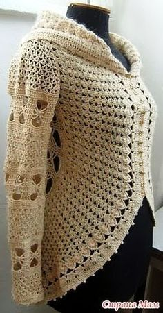 Crochet round jacket - No pattern; but, 2 graphs.Crochet: Crochet Clothing- has a chart but it's in Russian I think.Crochet long sleeve circular ❤️LCC-MRS❤️ with diagram.crochet beautiful rotunda in line for an amazing plan for women's clothi Crochet Bolero, Gilet Crochet, Crochet Cardigan Pattern, Crochet Jacket, Crochet Blouse, Crochet Poncho, Crochet Stitches, Crochet Patterns, Chunky Crochet