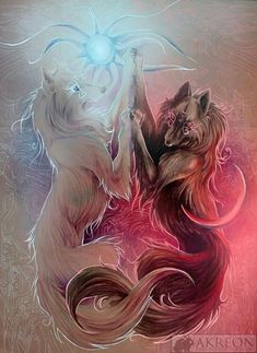 Wolf art, If someone know the Artist, all credit goes to him/her Anime Wolf, Mythical Creatures Art, Fantasy Creatures, Mythological Creatures, Fantasy Wolf, Fantasy Art, Cute Animal Drawings, Cool Drawings, Wolf Wallpaper