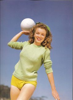 Norma Jeane with Volley Ball at the Beach