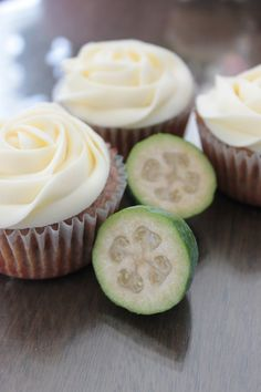 Feijoa Cupcakes with Cream Cheese Frosting - PhD Baker (Baking Bread With Kids) Fejoa Recipes, Fruit Recipes, Cupcake Recipes, Baking Recipes, Sweet Recipes, Muffin Recipes, Recipies, Delicious Desserts, Yummy Food