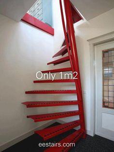 Home Stairs Design, Loft Design, House Design, Standard Staircase, Spiral Staircase, Staircase Ideas, Futuristic Lighting, Space Saving Staircase, Attic Bedroom Designs