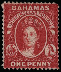 Bahamas, Scott 17, SG 34. 17 (34) 1863-77 1d scarlet (aniline) Q Victoria, wmkd CC, perf 14, scarce, OG, LH, VF, with RPSL certificate (Scott Retail $1500)   1 / 1