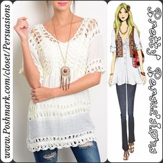"SALE ✨ NWT Ivory Boho Crochet Top NWT Ivory Boho Crochet Top  Available in sizes: S, M, L Measurements taken in inches from a size small:  Length: 28"" Bust: 42"" Waist: 40""  Features:  • crochet accented detailing throughout  • relaxed fit • soft material   Cotton/Acrylic/Poly blend  Also available in pink in this exact pattern & a different crochet pattern.   Note: you will need to wear a cami underneath this.   Bundle discounts available  No pp or trades ~ Item # B1o1-3-20-0270WCT Pretty…"