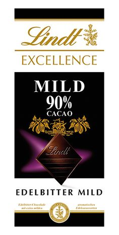 Lindt: Excellence 90% Mild, 100g Lindt Excellence, Bourbon Vanille, Calm, Cocoa Butter