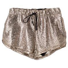 Bud Decorative Lacing Waist Golden Shorts( Halloween sale on 10.26 )