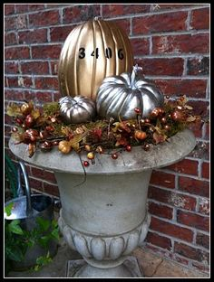 gilded punkins, front porch decor...inspired by Pinterest