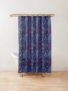 'Red White Blue Fireworks Stars' Shower Curtain by ironydesigns Firework Star, Blue Fireworks, Blue Shower Curtains, Custom Shower Curtains, Blue Colors, Red White Blue, Countries, Tub, Bathrooms