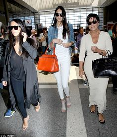 Keeping up: The 18-year-old star was joined by her mother Kris and sister Kim Kardashian for the journey