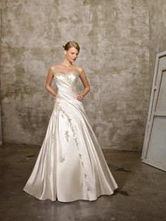Champagne-Color-Satin-Fabric-with-Shirring-and-Ruffles-Embroidery-Wedding-Dress-AW-8162.jpg (600×800)
