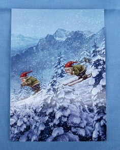 GNOMES DOWNHILL SKIING Sweden Tomte Nisse