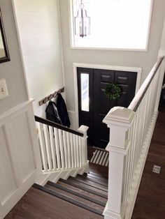 Wonderful upgrade ideas for split level homes.great before and after picks!-- Our Split Level Fixer Upper Split Foyer Entry, Split Level Entryway, Entry Foyer, Split Level Home, Entryway Stairs, Raised Ranch Entryway, Raised Ranch Kitchen, Fixer Upper, Raised Ranch Remodel