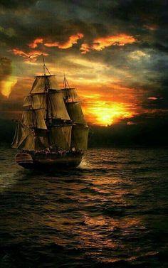 Sailing into the setting sun Sailboat Art, Nautical Art, Sailboats, Foto Picture, Old Sailing Ships, Pirate Art, Pirate Ships, Ship Paintings, Ship Art