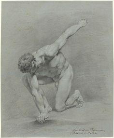 Jan Willem Pieneman | Links voorover knielend mannelijk naakt, Jan Willem Pieneman, 1789 - 1853 |