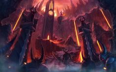Dark demons hell fire flames creature monsters fantasy weapons sword trdent occult satan satanic devil lava art spooky architecture cathedral door colors wallpaper | 1920x1200 | 24935 | WallpaperUP