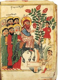 Christ's entry into Jerusalem Armenian manuscript by Tserun . Images Of Christ, Religious Images, Religious Art, Medieval Manuscript, Medieval Art, Illuminated Manuscript, Christian Artwork, Illumination Art, Arm Art