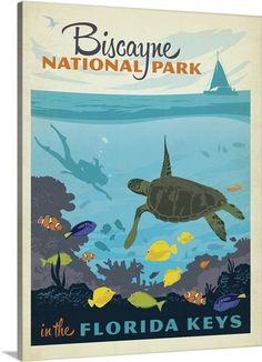 Biscayne National Park, Florida Keys - Retro Travel Poster