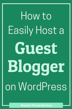 Hosting a guest blogger on your blog is something that benefits both of you.  You get someone new to talk to your audience and the guest blogger gets exposure.  WordPress also makes it easy to do in a number of ways – here are a couple of them to help you easily host a guest blogger #guestblog #blogging #bloggingtips #wordpress