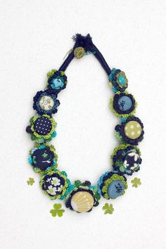 Floral crochet necklace in blue and green Fiber jewelry with fabric buttons, OOAK by rRradionica on Etsy