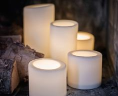 Battery-operated block candles in three different sizes.