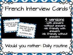 {New product! 50% off for 48 hours} Kids love answering 'would you rather' questions! These fun interview cards will get them speaking, asking, and answering fun questions about their daily routine and typical day.