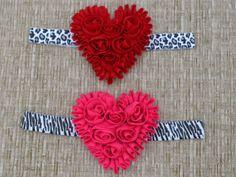 Valentine's Day Headband Shabby Flower by MommysBowCreations, $7.00