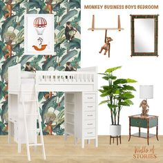 Three little monkeys jumping on the bed, One fell off and bumped his head. I called for the doctor and the… Monkey Jump, Three Little, Monkey Business, Little Monkeys, Animal Wallpaper, Bedroom Wall, Wall Prints, Walls, Mood