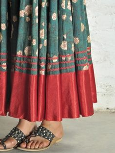Green Block Print Kalidar Cotton Skirt - Free Size