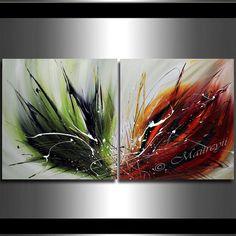 VERDE oliva grandes pinturas modernas de arte por largeartwork