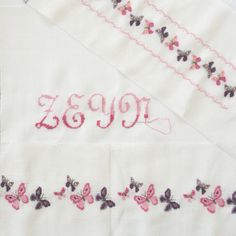 Etamin kamaviçe kız bebek nevresimi kelebekli / cross stitch baby girl
