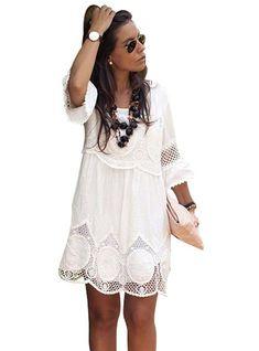 Half Sleeve Loose Lace Dress 2018 White O-neck Women Dress