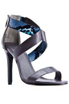 SERGIO BARI Daniella Sandals in Gray and Turquoise