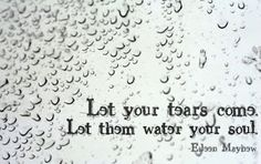 Let your tears water your soul.