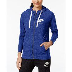 Nike Gym Vintage Full-Zip Hoodie ($45) ❤ liked on Polyvore featuring tops, hoodies, comet blue, vintage hoodie, lightweight full zip hoodie, blue hoodie, nike hoodies and hooded pullover