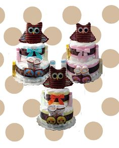 Items similar to 2 Layer Baby Owl Diaper Cake Gift Set-Pink on Etsy Cute Gifts, Great Gifts, Owl Diaper Cakes, Owl Parties, Owl Always Love You, Gift Cake, Baby Owls, Cute Owl