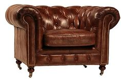 Edward Luxurious Leather Tufted Chesterfield Armchair Top Grain Leather And Caster Legs Hollywood