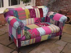 Handmade Velvet Patchwork Sofa - Antique Edwardian drop end 2 seater couch