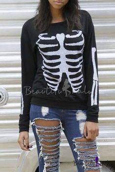 56590637c24576 2016 New Fashion Skeleton Print Long Sleeve Round Neck Sweatshirt Black White