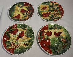 Certified International Susan Winget Christmas Plate Cardinal and ...