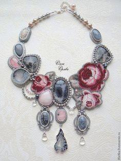 Купить Туман - серый, туман, кольцо с цветком, розы, агат с друзой, агат, опал, Сваровски