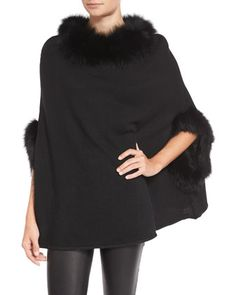 Fox Fur-Trim Knit Poncho, Black by Neiman Marcus at Neiman Marcus Last Call.