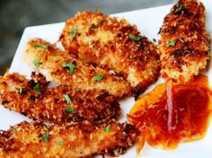 Coconut Chicken Tenders.... Your whole family will love this :)